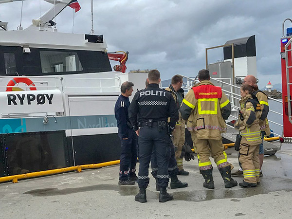 "FORCED TO EVACUATE: The 36 passengers on board the high-speed craft ""Rypøy"" had to return to port when a fire started in the craft's machinery space."