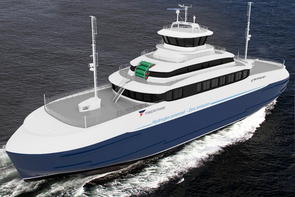 Illustration shows designers impression of hydrogen-powered ferry.