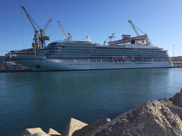 The cruise ship Viking Sun at the Fincantieri ship building yard in Ancona, Italy.